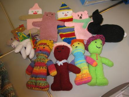 knitted glove puppets and soft toys